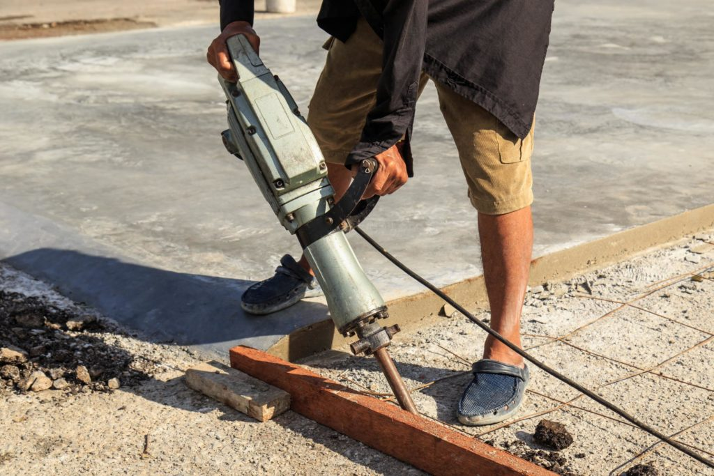 professional concrete services expert during work